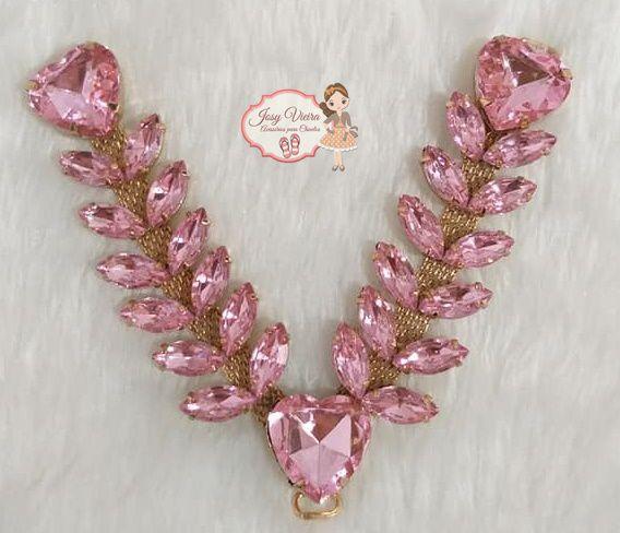 Cabedal pedraria com coração Rosa Bebê (par)