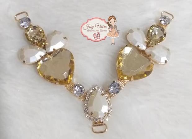 Cabedal PEDRARIA Coração Dourado(Par)