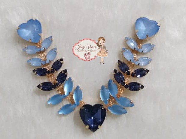 Cabedal Pedraria Degradê Azul(Par)