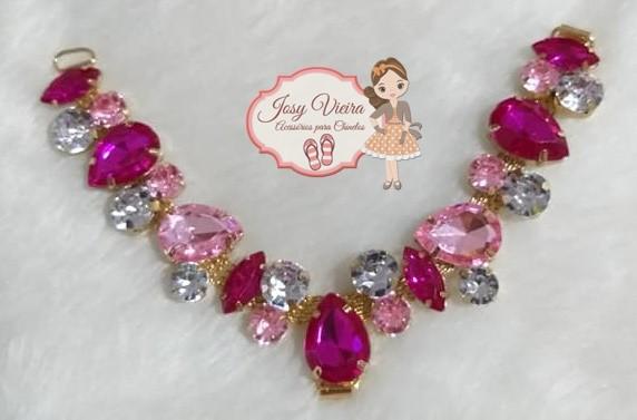 Cabedal Pedraria Rosa com Pink(Par)