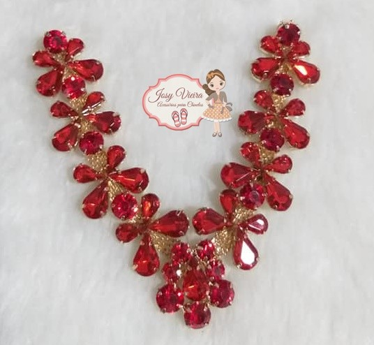 Cabedal Pedraria Vermelho Mini Borboletas(Par)
