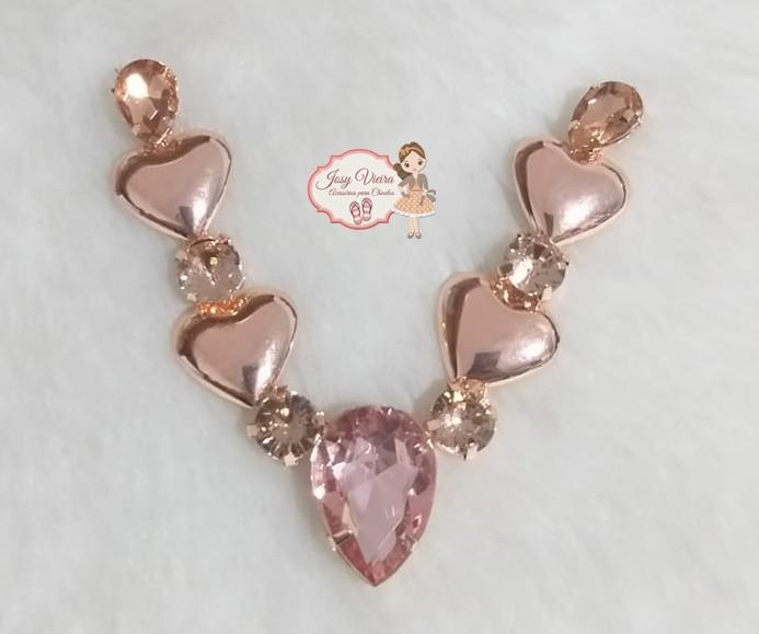 Cabedal Rosê coração (Par)