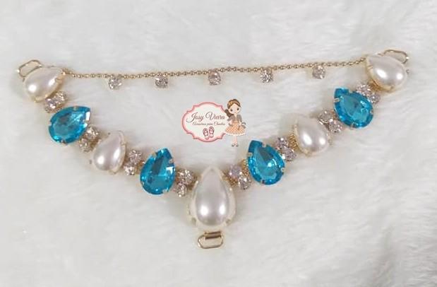 Cabedal SIMILAR Azul com pérola com correntinha (Par)