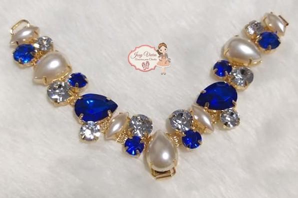 Cabedal SIMILAR Azul com pérola com (Par)