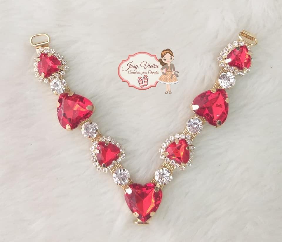 Cabedal SIMILAR Coração vermelho com strass(Par)