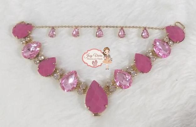 Cabedal SIMILAR Rosa com correntinha com strass color (Par)