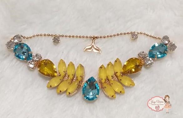Cabedal SIMILAR Sereia Amarelo com correntinha (Par)