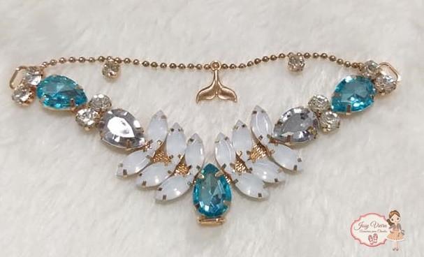 Cabedal SIMILAR Sereia Azul BB com correntinha (Par)