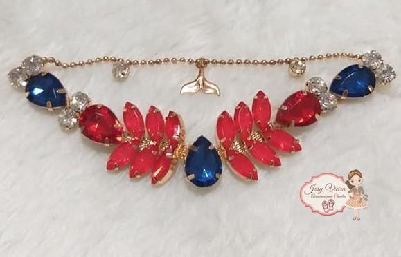 Cabedal SIMILAR Sereia Vermelho com correntinha (Par)