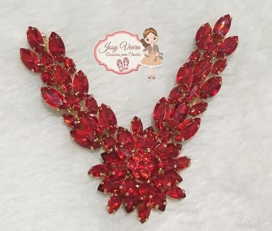 Cabedal SIMILAR Vermelho com flor na ponta(Par)