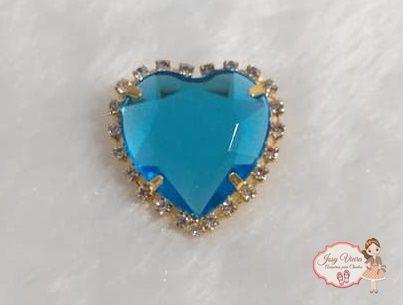 Coração BANHADO com pedra Azul (Par)