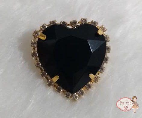 Coração BANHADO com pedra Preta (Par)