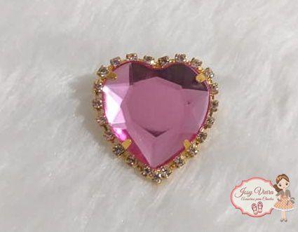 Coração BANHADO com pedra Rosa (Par)