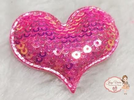 Coração de tecido com lantejoulas Rosa(1unidade)