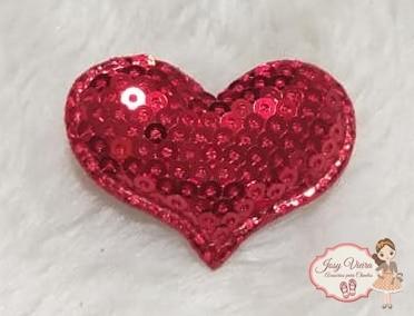 Coração de tecido com lantejoulas vermelha(1unidade)