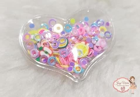 Coração P transparente com círculos coloridos(1 Unidade)