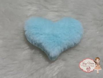 Coração tecido e pelucia Azul bebê 6 cm (Cada)