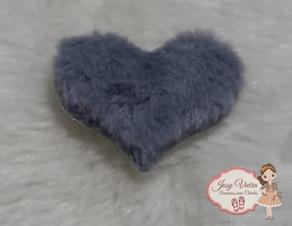 Coração tecido e pelucia Cinza 6 cm(Cada)
