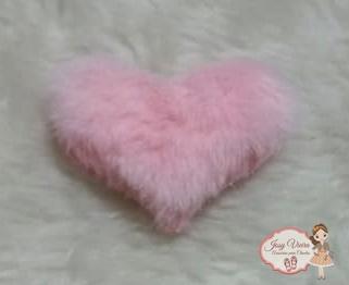Coração tecido e pelucia Rosa Bebê 6 cm(Cada)