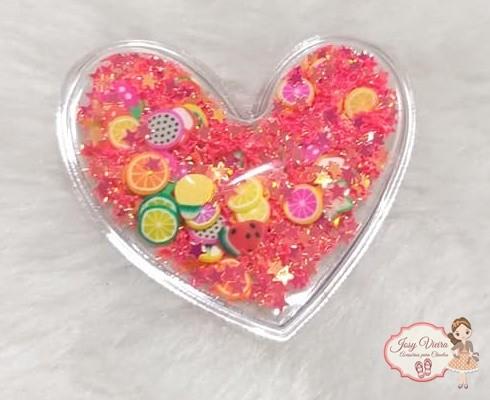Coração Transparente com Frutinhas(1unidade)