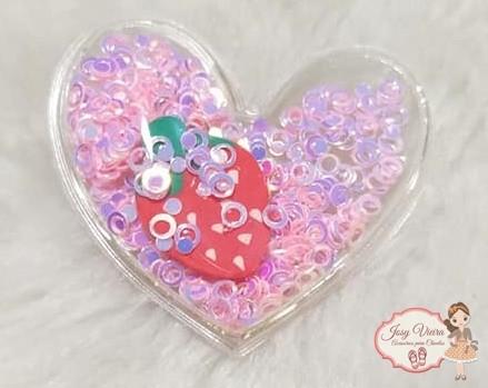 Coração Transparente com morango vermelho(1unidade)