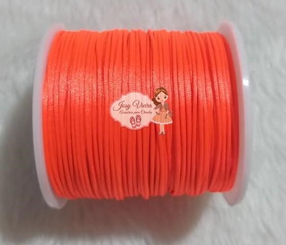 Cordão de Cetim 1mm Laranja Vivo Cor 01 100m