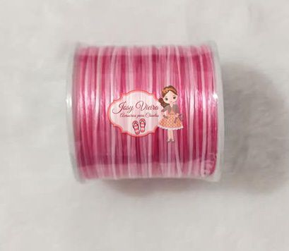 Cordão de Cetim 1mm MESCLADO Rosa e Branco 100m