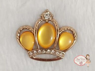 Coroa Dourada com pedra Amarela (Par)