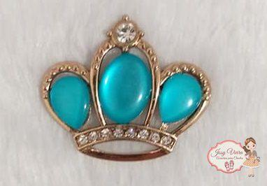 Coroa Dourada com pedra Turquesa (Par)