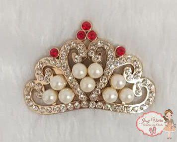 Coroa Dourada Com Pérolas e strass Vermelho (Par)