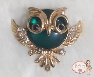 Coruja Dourada com Verde(Par)