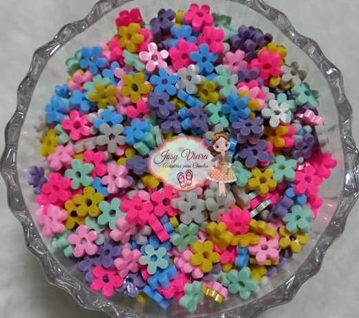 Entremeio florzinha 6mm colorida 100g