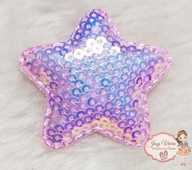 Estrela de tecido com lantejoulas Rosa Bebê(1unidade)