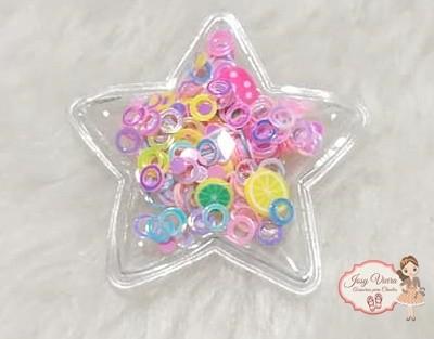 Estrela P transparente com círculos coloridos(1 Unidade)