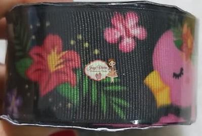 Fita GORGURÃO Newz Floral fundo preto Rolo 10mx38mm