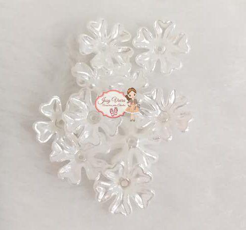 Flor ABS Branca com Furo no meio (10 unidades)