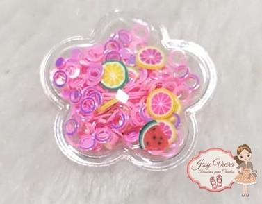 Flor P transparente com círculos rosa(1 Unidade)
