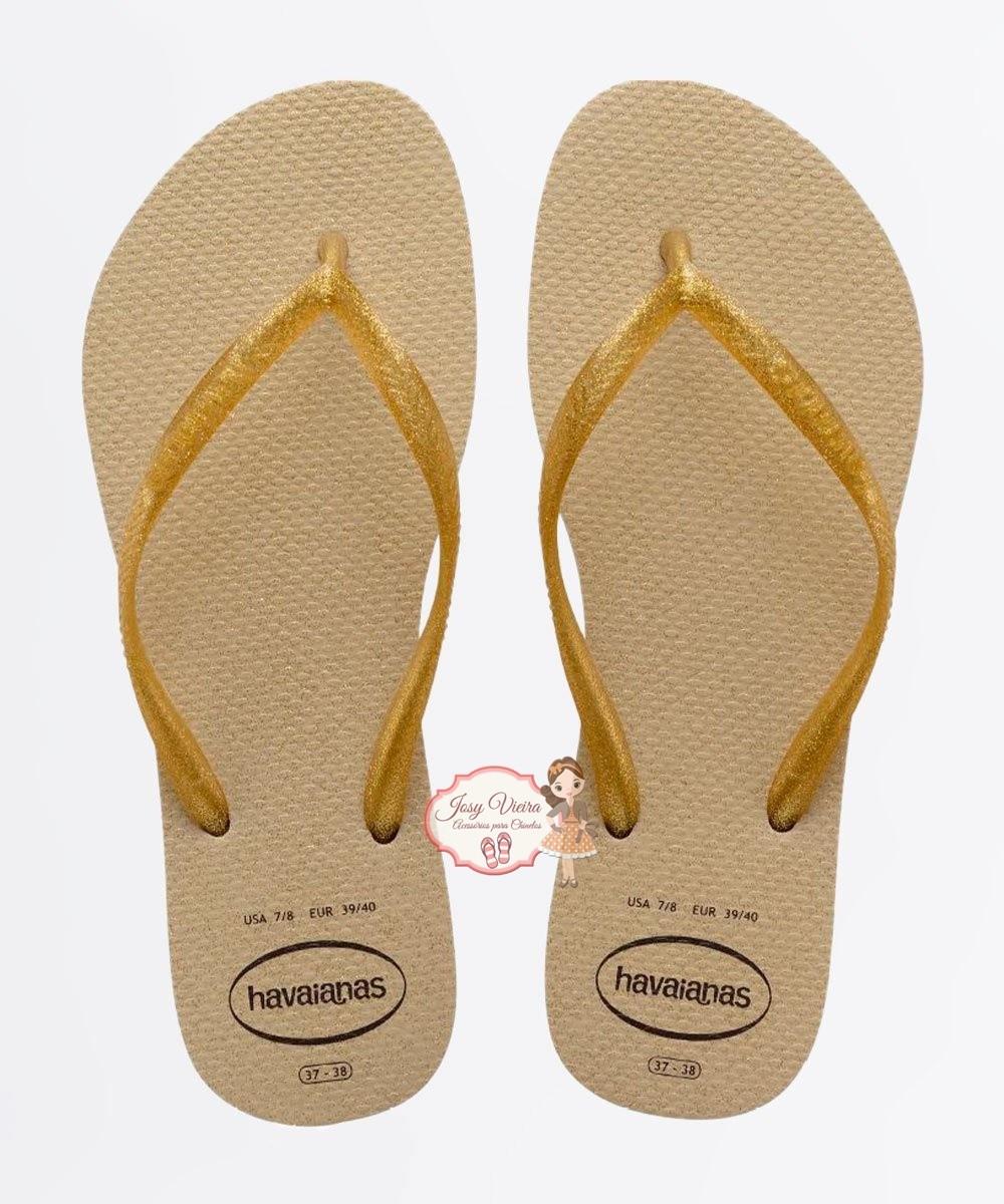 Havaiana SLIM GLOSS  Areia/Dourado Claro 37/38