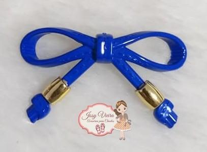 Laço ABS Azul com ponteira dourada(Par)