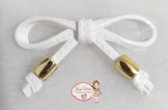 Laço ABS Branco com ponteira dourada(Par)