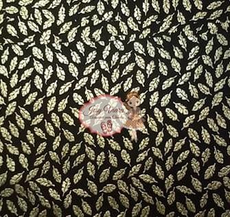 Lonita Fundo preta com folhas Dourada 24x40