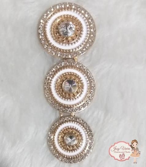 Mandala de Metal Dourado com Branco(Par)