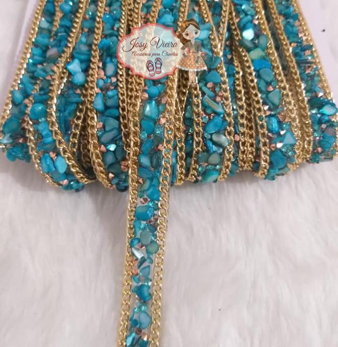 Manta Cascalho Azul com corrente(1metro)
