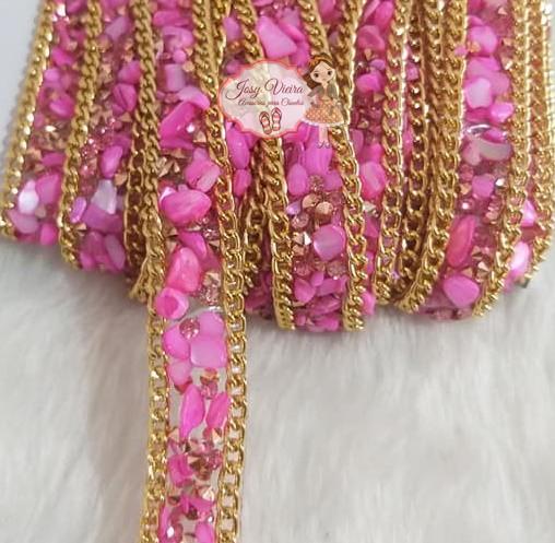 Manta Cascalho Pink com corrente(1metro)