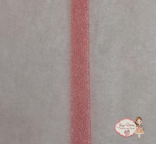 Manta Cravejada Rosa Tira de 40x20mm
