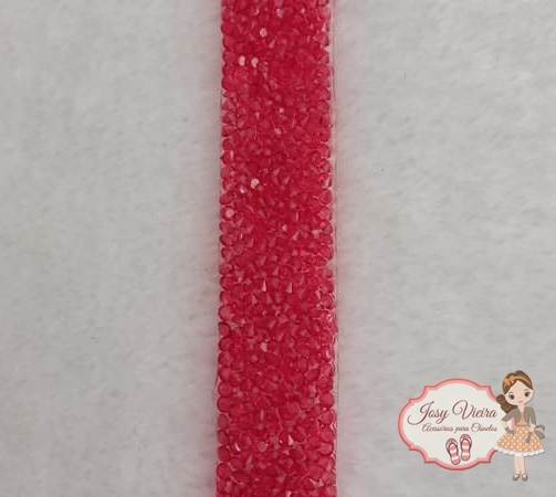 Manta Cravejada Vermelha Tira 24x20mm