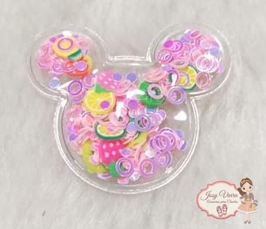 Mickey P transparente com círculos rosa(1 Unidade)