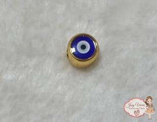 Olho grego  dourado passante(1 unidade)