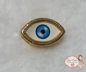 Olho grego dourado passante (1 unidade)