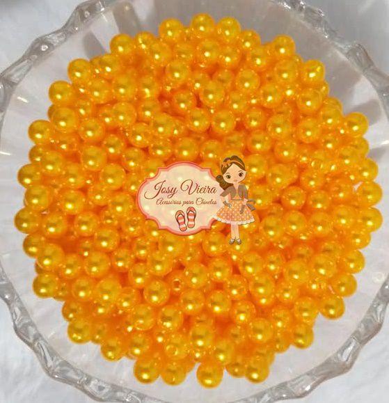 Pérola ABS Tam 10 cor Amarelo Ouro 100g